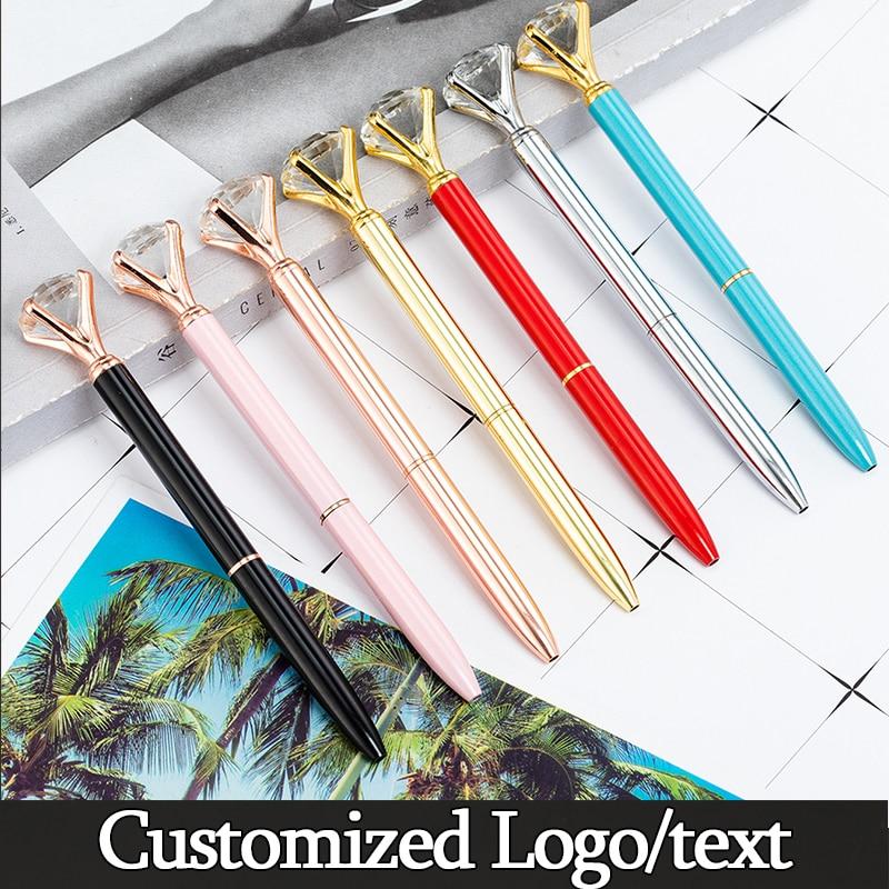 Big Carat Diamond Crystal Gem Ballpoint Pen Wedding Office Metal Roller Ball Pens School Stationery Customized Logo Gift