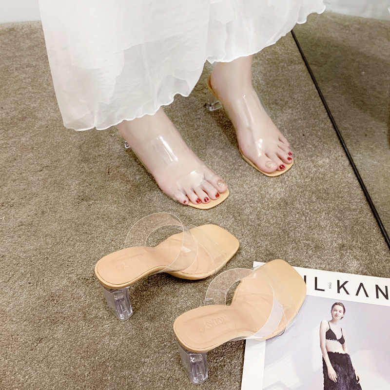 Glas Hak Sandalen Vrouwen Chunky Hak Hoge Hak Slipper Clear Hak Luxe Schoenen Vrouwen Vierkante Hak Slip-Op
