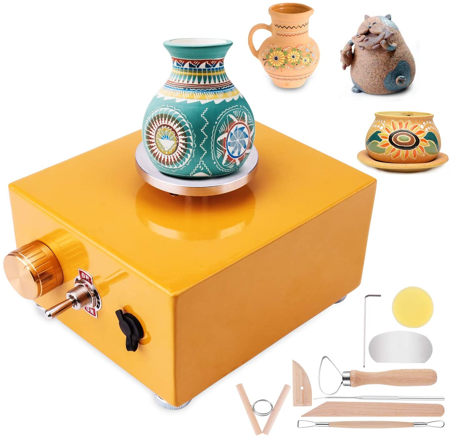 Mini Electric Pottery Wheel DIY Clay 6.5cm /& 10cm Turntable Modeling Sculpture Machine with 6 Ceramic Rotate Craft Making Tools for School Teaching Home