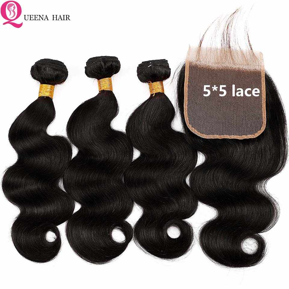 Paquetes de onda del cuerpo del pelo indio crudo con 5*5 Paquetes de pelo humano Remy con cierre Pre- 3 paquetes desplumados con cierre