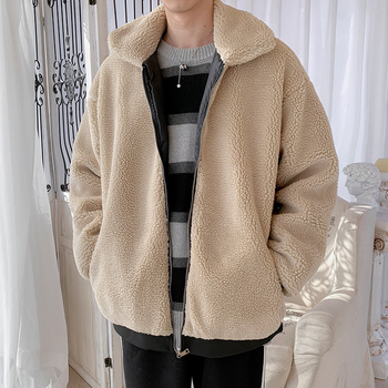 2019 Winter New Men's Thick Solid Color Hooded Loose Version Casual Harajuku Couple Lamb Wool Coat