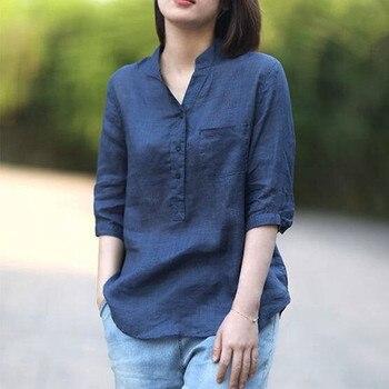 2020 New Women Blouses Shirts Minimalist Single-breasted Female Blue Shirts 2020 Spring Summer Tops Oversized 1