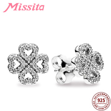 купить MISSITA 100% 925 Sterling Silver Hollow Clover Earrings For Women Silver Jewelry Fashion Wedding Stud Earring HOT SELL Gift дешево