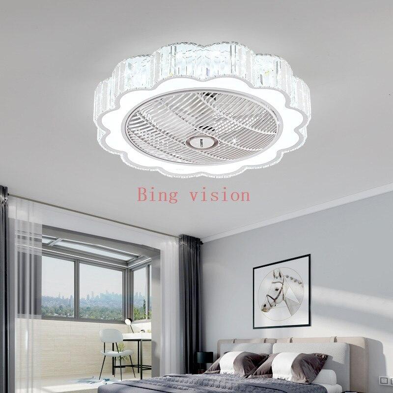 Crystal Ceiling Fan Lights Dining Room Bedroom Living remote control Fan Lamps Invisible Voltage 110v /220v Fan Lighting|Ceiling Fans| |  - title=