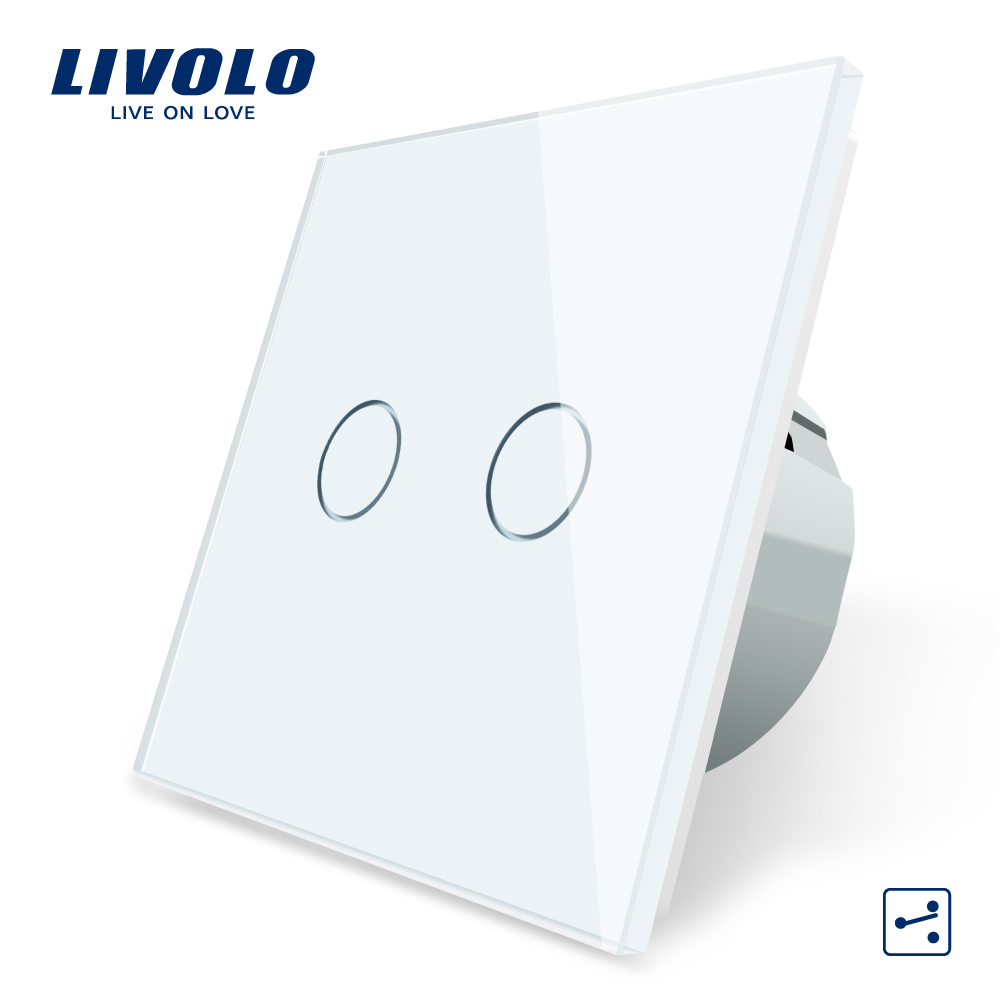 Livolo Touch-Switch Glass-Panel Wall-Light 2way-Control 2gang Crystal 220-250V 7colors