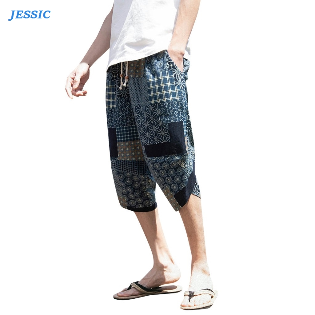 JESSIC Men's Pants Summer Wide-breasted Harem Cotton Linen Wide-leg Pajamas Loose Cropped Trousers Baggy High Quality