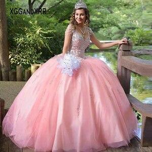 Розовое платье Quinceanera 2020, с v-образным вырезом, бисером, 15 16, пышная юбка, Атласное Бальное Платье, Платье на день рождения