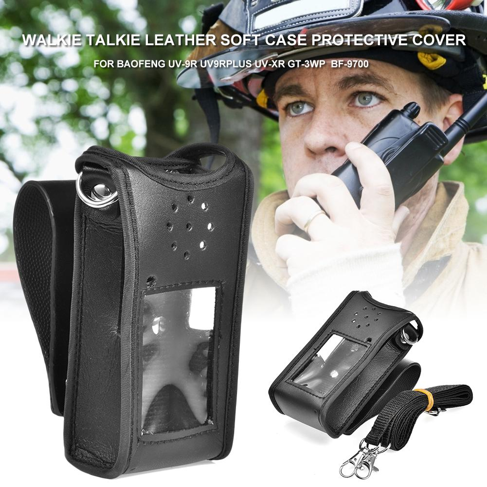 Walkie Talkie Leather Soft Case Protective Cover For Baofeng UV-9R UV9RPLUS UV-XR GT-3WP BF-9700 Walkie Talkie Accessories