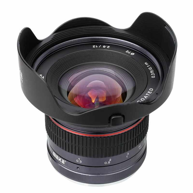 Lente de ângulo amplo meike 12mm f2.8, lente de foco manual APS-C para nikon fuji sony canon m43