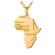 2017 New Fashion Gold Color Africa Country Map Pendant Necklace Personalized Necklace Women Men Jewelry(China)