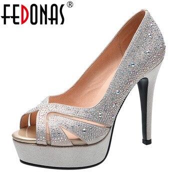 FEDONAS Elegant Women 2020 High Heels Night Club Prom Pumps Rhinestone Glitters Shoes New Fashion Shoes Woman