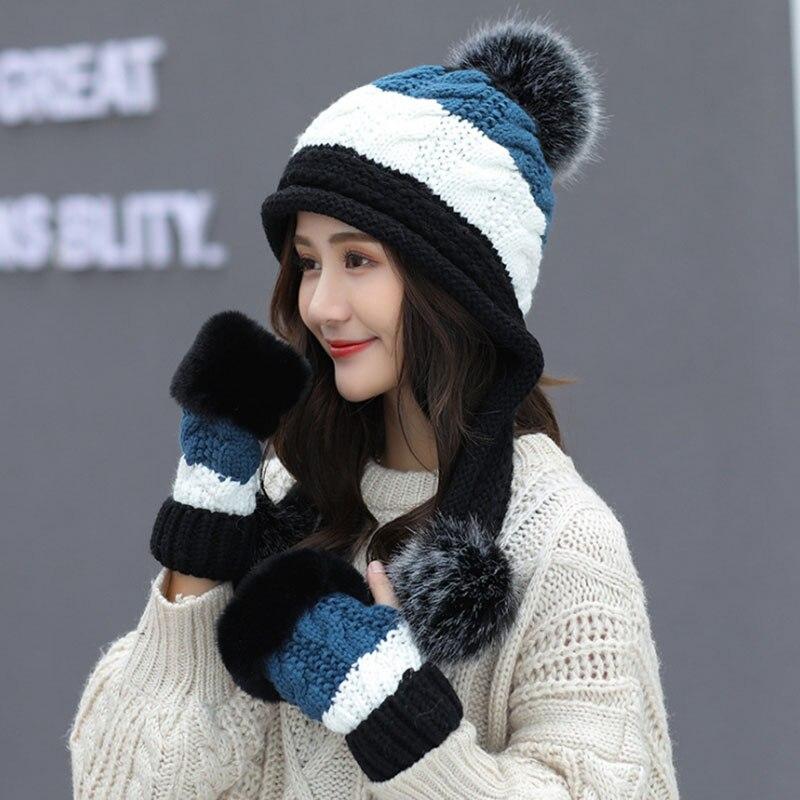 Calymel 2019 Women Beanies Wool Ball Winter Hat Keep Warming Acrylic шапка женская Bonnet Fashion Knitted Cap Ears Protector 31