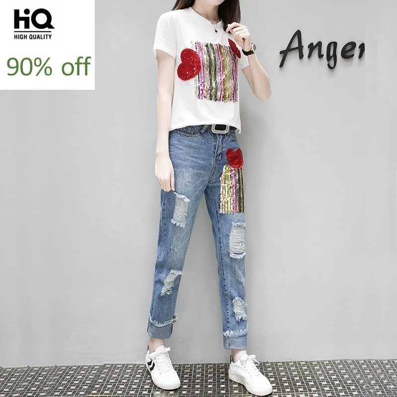 Plus Size 5XL Womens Jeans 2020 Hot Fashion Sequin Straight Beading Female Full Length Distressed Hip Hop Harem Denim Trousers