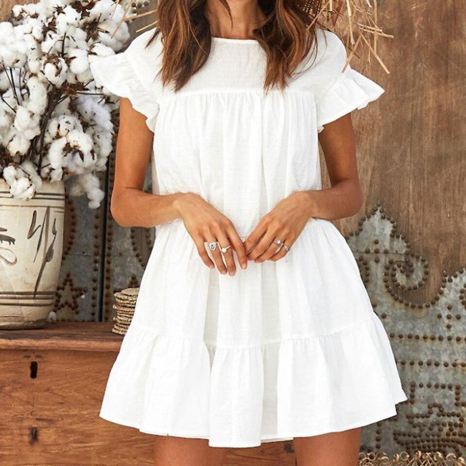 Women Solid Mini Diress Ruffles Short Sleeve White Dress Beach Party Night  Dresses Robe Femme Vestidos Sukienka Damska|Dresses| - AliExpress