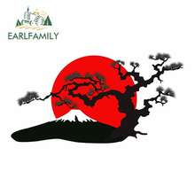 EARLFAMILY 13cm For Japanese Landscape Silhouette Comic Decal Personality Creative Stickers Suitable For GTR SX VAN