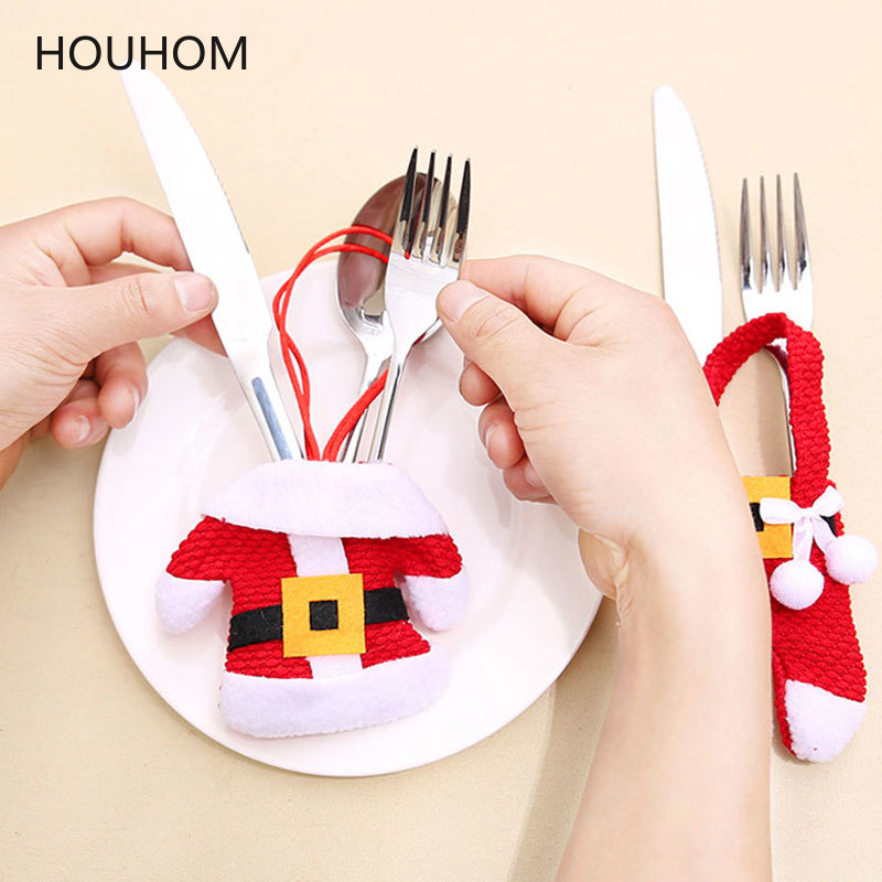 New Year 2020 Christmas Tableware Fork Knife Holder Cutlery Bag Noel Christmas Decorations For Home Dinner Table Decor Xmas Gift