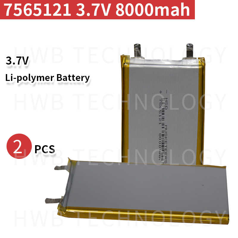 2pc 8000mAh 7565121 3.7V lithium polymère lipo batterie rechargeable li ion cellule pour E-Book GPS PSP DVD batterie externe tablette PC