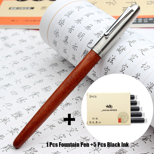 Fountain Pen Classic Wood Fountain Pen 0.38mm Extra Fine Nib Calligraphy Pens Jinhao 51A Stationery School Office Supplies Fountain Pen Color : Black Wood, Size : Free
