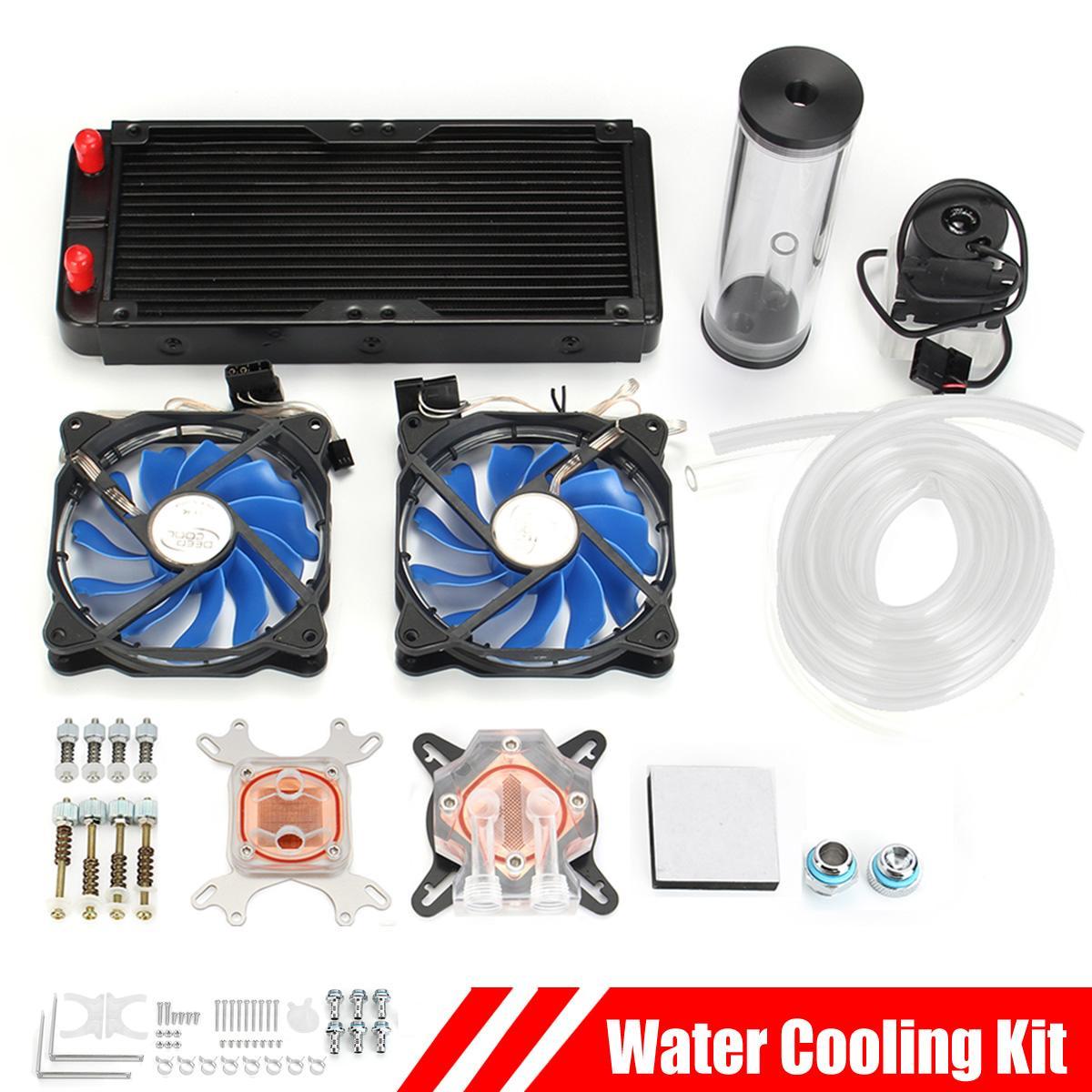 Leory PC Water Cooling Kit 240mm Radiator Pump Reservoir CPU Block Rigid Tubes DIY Circulation Pump
