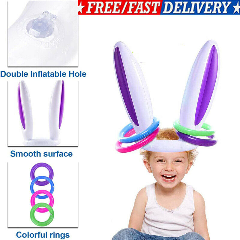 Inflatable Easter Bunny Rabbit Ears Hat Ring Toss Easter Kids Game Toy Gift 2020
