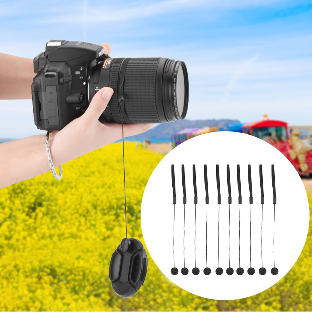 Elastic Wear Resistant Black DSLR Camera Lens Cover Rope Cap Keeper Easy Install Universal Plastic Holder Hanging Anti Lost image