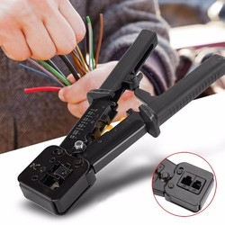 RJ45 Tool Network Crimper Crimping Tools Stripper Cat5e Cat6 Connector Crimping Tool End Pass Through RJ11/12 Pipe Wire Rope