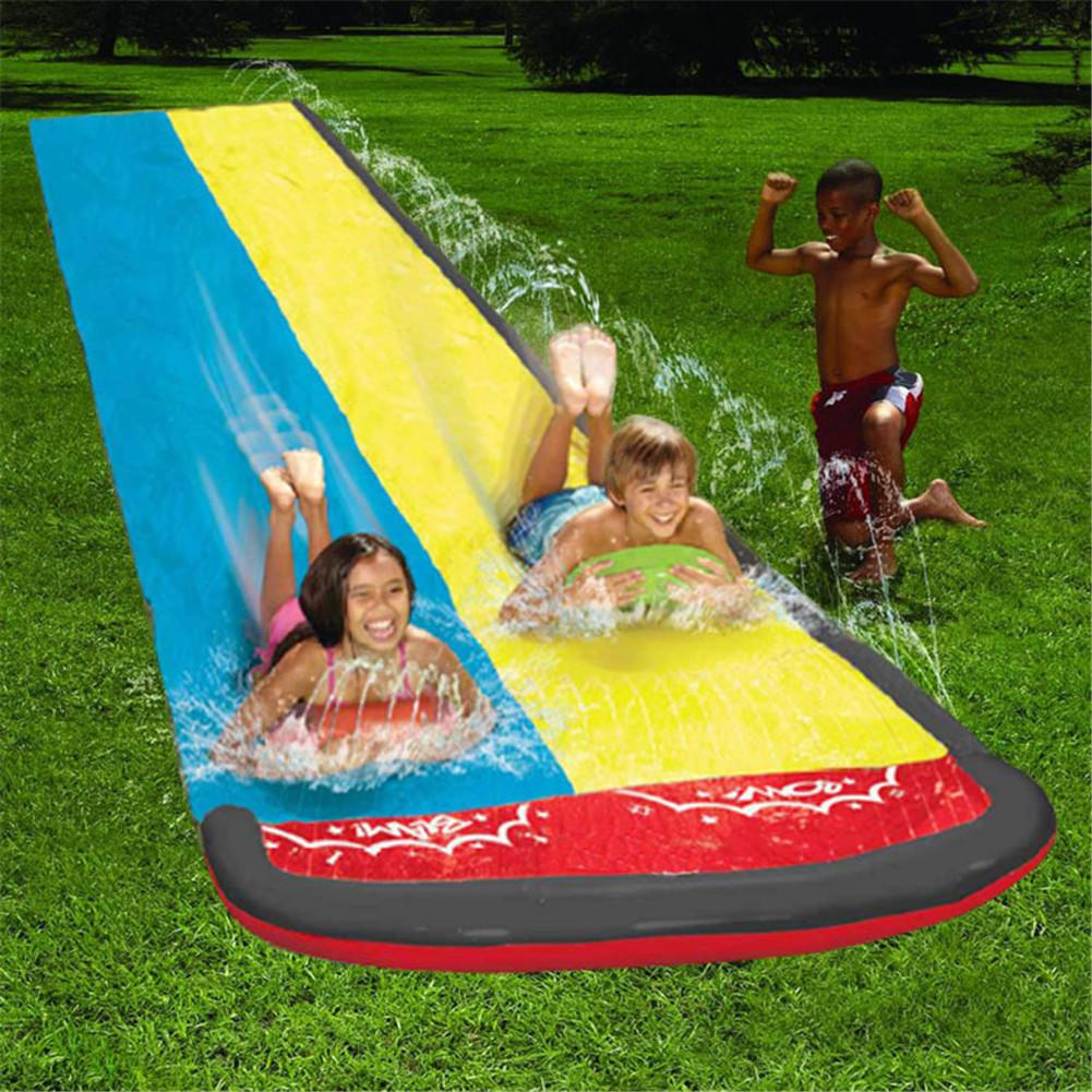 Children Water Slide Fun Lawn Water Slides Pools For Kids Summer PVC Games Center Backyard Outdoor Children Adult Toys
