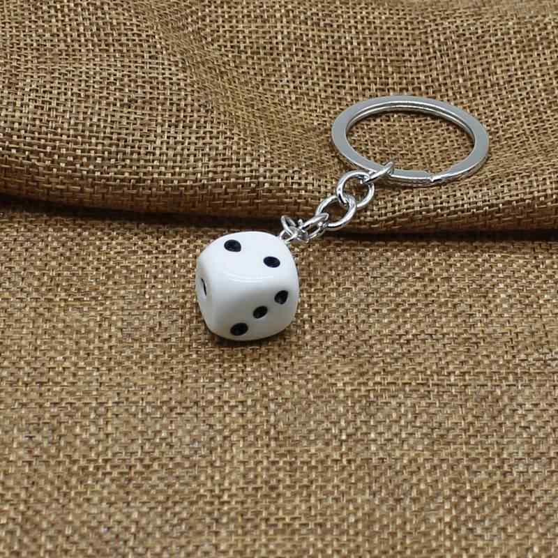 Fun acrylic 3D dice keychain earrings pendant necklace cool punk drip earrings tassel casino women men jewelry personality fun