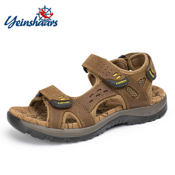YEINSHAARS New Fashion Summer Leisure Beach Men Shoes High Quality Genuine Leather Sandals Men's Big Size 38-48 - discount item  34% OFF Men's Shoes