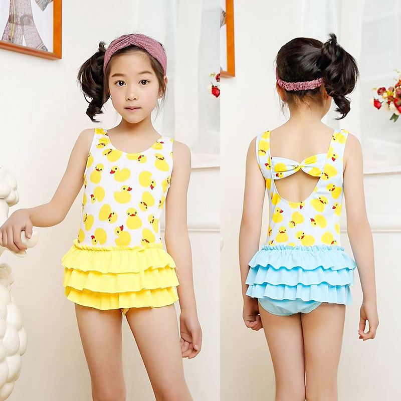 South Korea KID'S Swimwear Women's Girls Princess Cute Hot Springs Small CHILDREN'S GIRL'S Split Skirt-GIRL'S Swimsuit 3-6-Year-