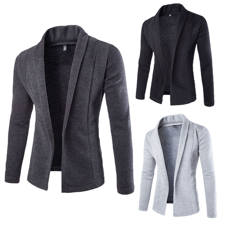 Fashion Autumn Winter Men's Blazer Casual Slim Fit Solid No Button Suit Business Blazer Work Coat Jacket Outwear
