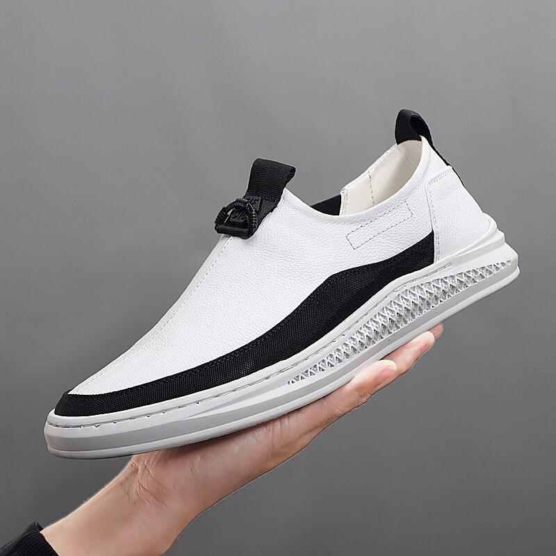2019 hommes chaussures de loisirs en cuir respirant mode baskets hommes mode mocassins noir blanc évider marque chaussures décontractées