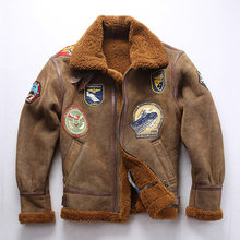 2020 Baru Pria Bulu Pilot Jaket B3 Penerbangan Jaket Fashion Multi-Label Militer Wol Liner Furry Coat Winer Rusia mantel(China)