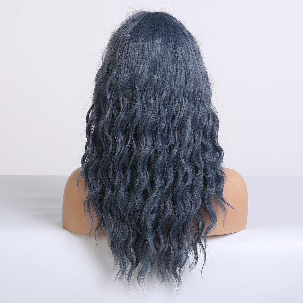 Image 3 - EASIHAIR Blue Wave Wigs with Bangs Synthetic Wigs for Women Heat Resistant Cosplay Wigs Medium Length High Temperature Fake HairSynthetic None-Lace  Wigs   -