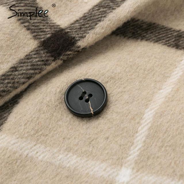 Simplee Elegant plaid women tweed coat Buttons pockets autumn winter female blend coats V neck office ladies warm long overcoats 10
