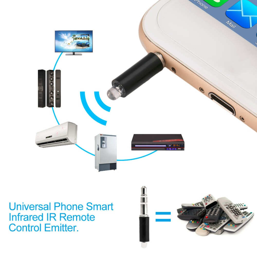Universal 3.5mm Mini Intelligent Remote Control Plug Mobile Phone Smart Infrared IR Remote Control Jack For IPhone IOS Android