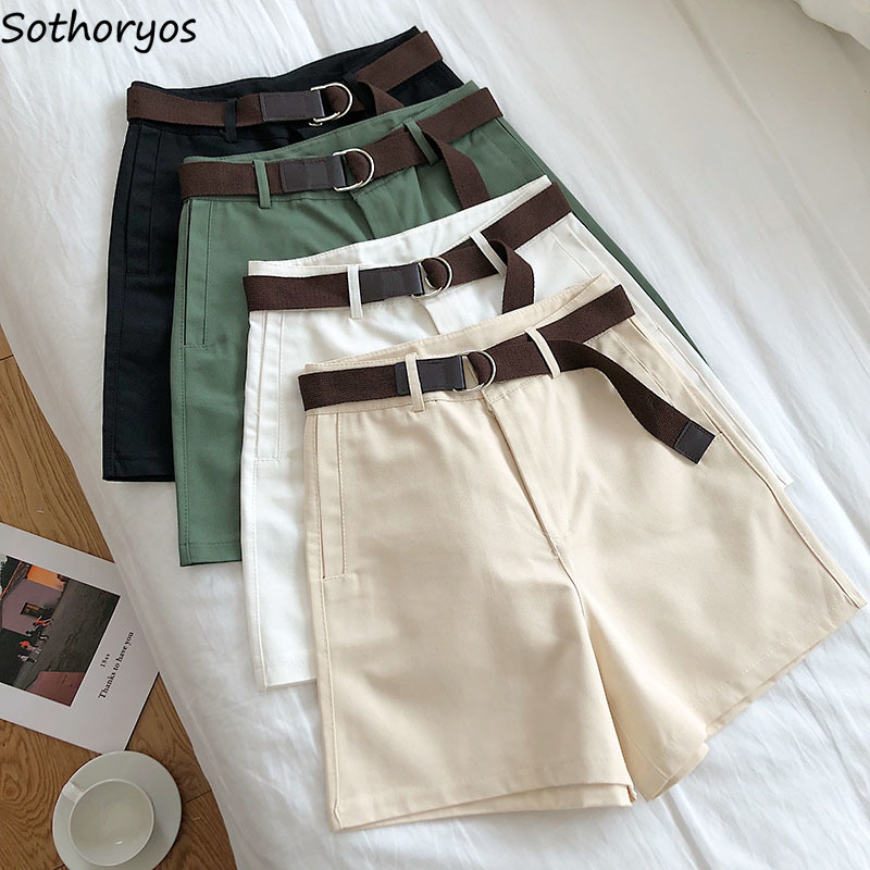 Shorts Women Summer Sashes Solid Casual All-match High-waist Pockets Simple Stylish Korean Style Wide-leg Streetwear Womens Chic