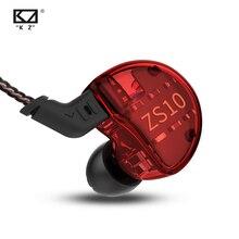 Kz ZS10 Hoofdtelefoon 10 Drivers Oortelefoon 4BA + 1DD Dynamische Hybrid Oordopjes Hifi Bass Sport Headset Noise Cancelling In Ear monitoren
