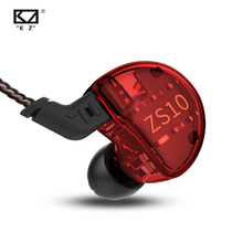 Kz zs10 fones de ouvido 10 motoristas 4ba + 1dd híbrido dinâmico fones alta fidelidade baixo esporte fone com cancelamento ruído em monitores