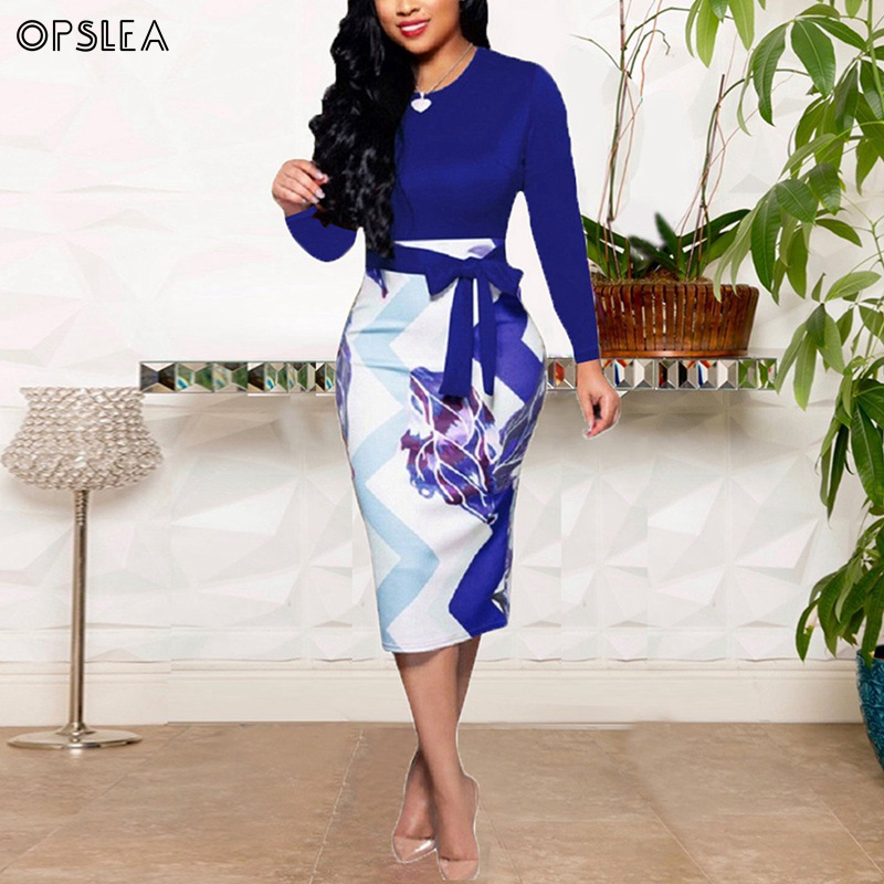 Opslea African Women Long Sleeve Round Neck Tight Dress Dashiki Autumn New Church Dress African Ethnic Clothes Robe Africaine