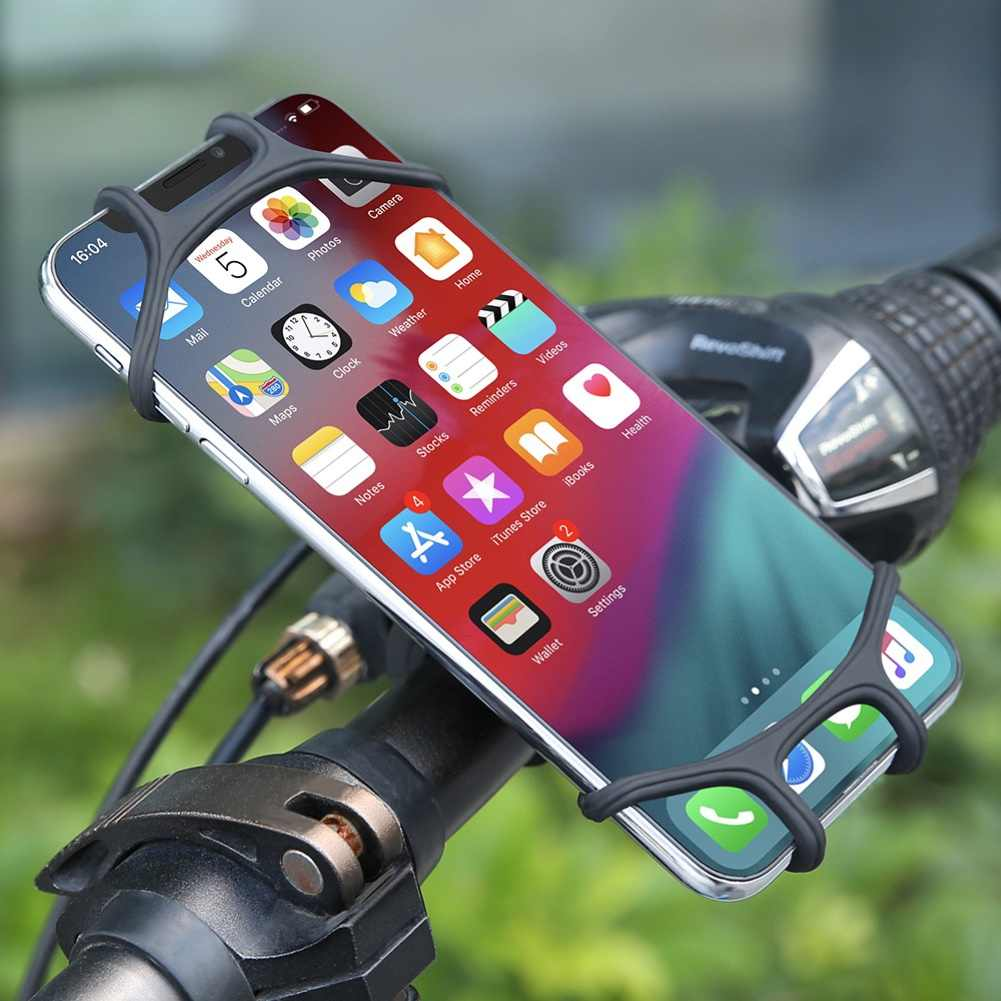 אוניברסלי אנטי להחליק סיליקון אופניים כידון הר מחזיק טלפון Stand סוגר