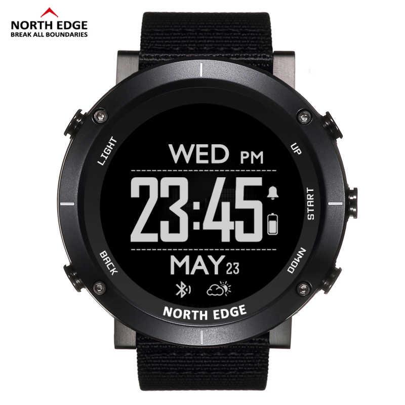 北エッジ男性スポーツデジタル腕時計防水 50 メートル時計 GPS 天気高度計バロメーターコンパス心拍数ハイキング腕時計