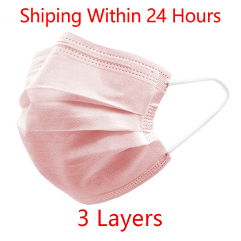 10pcs/200pcs Pink Masks Non Woven Disposable Face Mask 3 Layer Elastic Earloop Mouth Face Disposable Masks