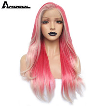 Anogol Platinum Blonde Ombre Pink Synthetic Lace Front Wig Long Natural Wave Futura Fiber Wig For Women