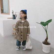 Однотонный длинный Тренч в Корейском стиле для мальчиков и девочек, большие размеры детские повседневные однобортные куртки из хлопка, пальто