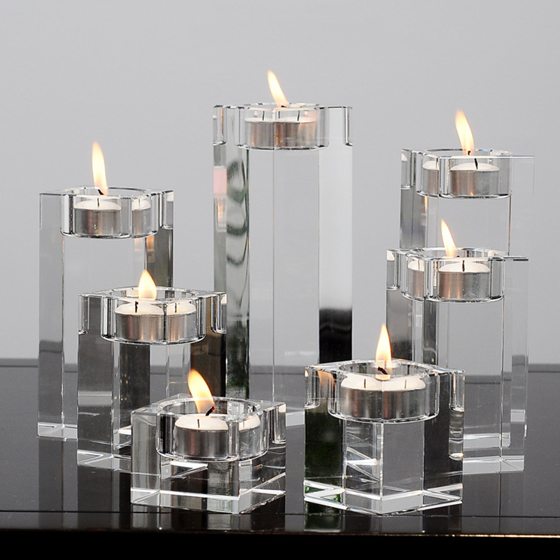 Candle Holder Clear Glass Crystal Tealight Stand Candlestick Decor Height 4/6/8/10/12/14/16/18/20cm European Ornaments FPing