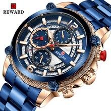 Sport Watch REWARD Quartz Chronograph Stainless-Steel Waterproof Fashion Luxury Relogio