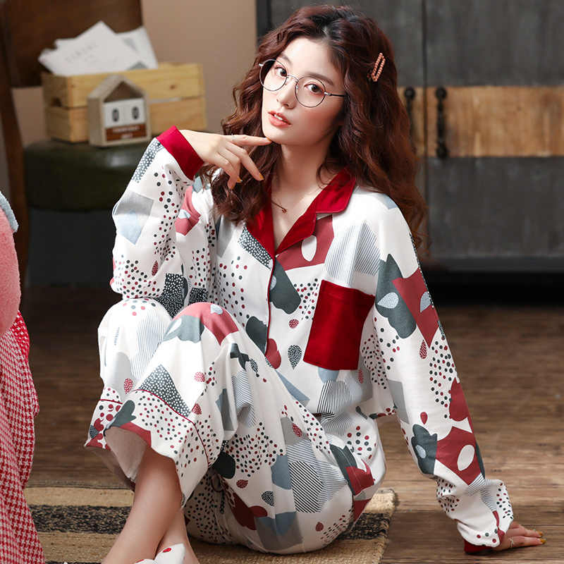 BZEL 봄 가을 겨울 여성 잠옷 Mujer 잠옷 세트 귀여운 만화 잠옷 100% 코튼 Femme 홈웨어 화이트 소프트 Nightwear