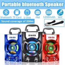 цена на LED Outdoor Portable Wireless Speaker Phone Holder Stereo Bluetooth Speaker Party Music Player TF Card U Disk FM AUX Microphone