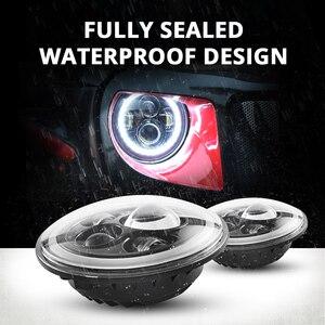 "Image 4 - ตระเวน7 ""LEDไฟหน้า60W LED High Beam LED H4 Halo Angel Eye DRL Amber Turnสัญญาณสำหรับjeep Wrangler JK TJ Land Rover Harley"